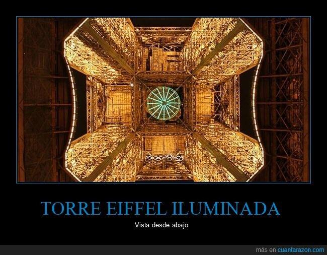 abajo,iluminada,torre eiffel