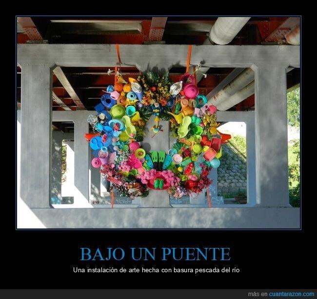 arte,basura,puente
