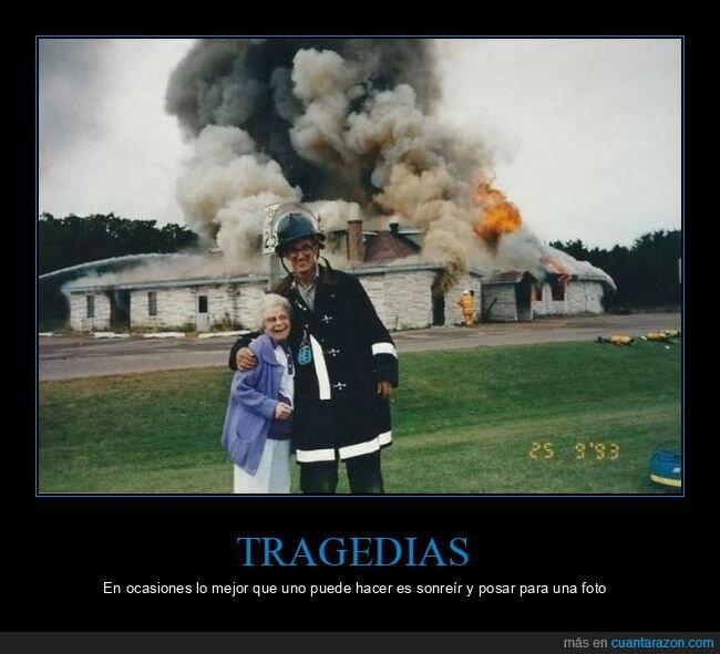 abuela,bombero,foto,incendio,posando,wtf