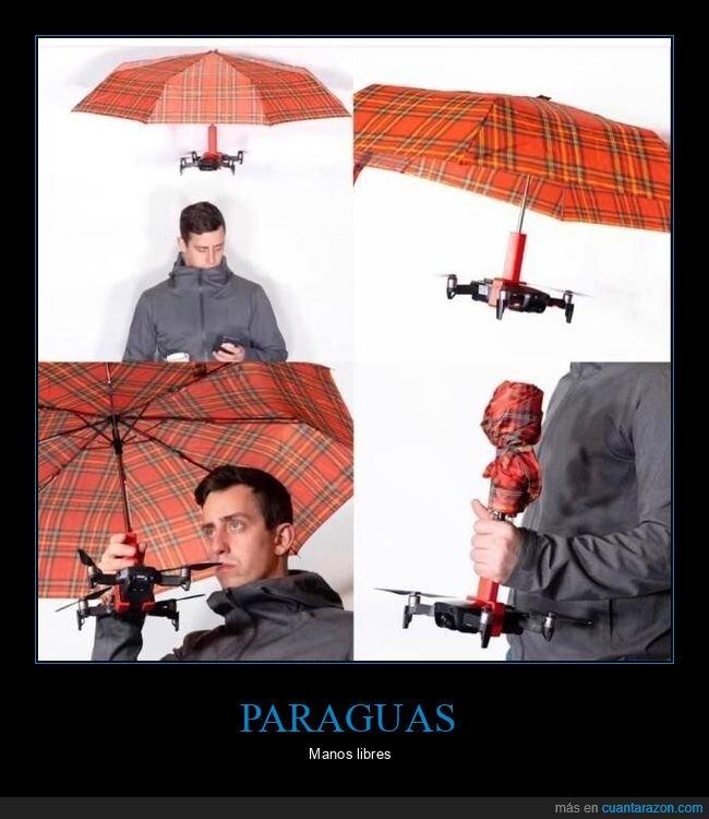 dron,manos libres,paraguas