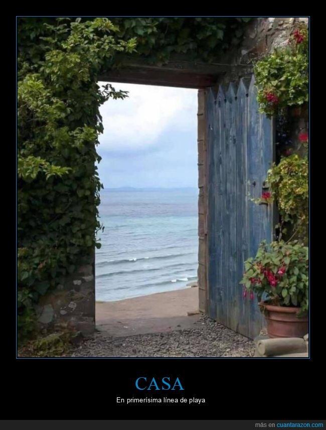 casa,mar,playa,puerta