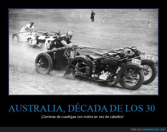 australia,carrera,cuádrigas,motos,retro
