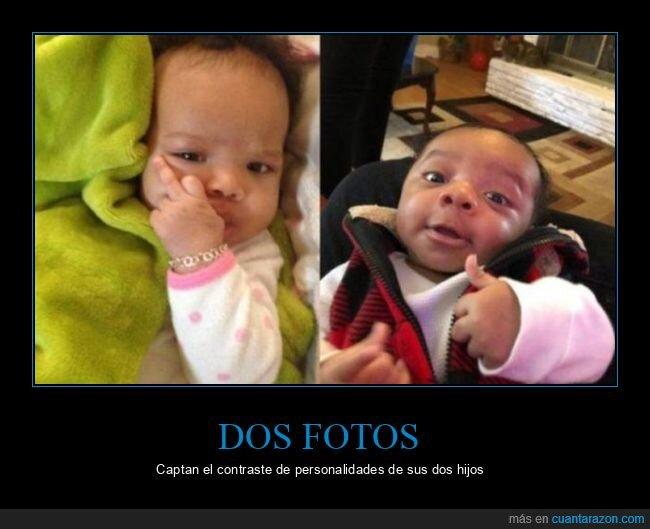 bebés,contraste,hijos,personalidades