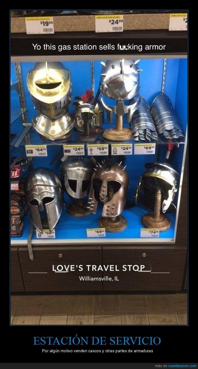 armaduras,cascos,estación de servicio,gasolinera,wtf