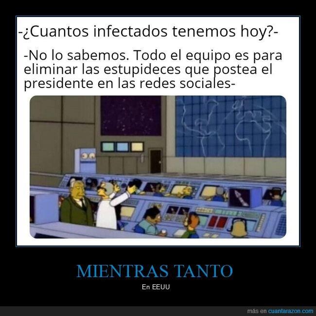 coronavirus,donald trump,eliminar,equipo,estupideces,infectados,presidente,redes sociales