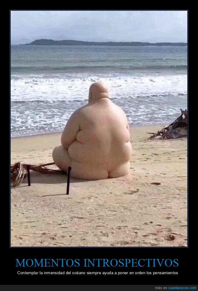 desnudo,playa,reflexionando,wtf