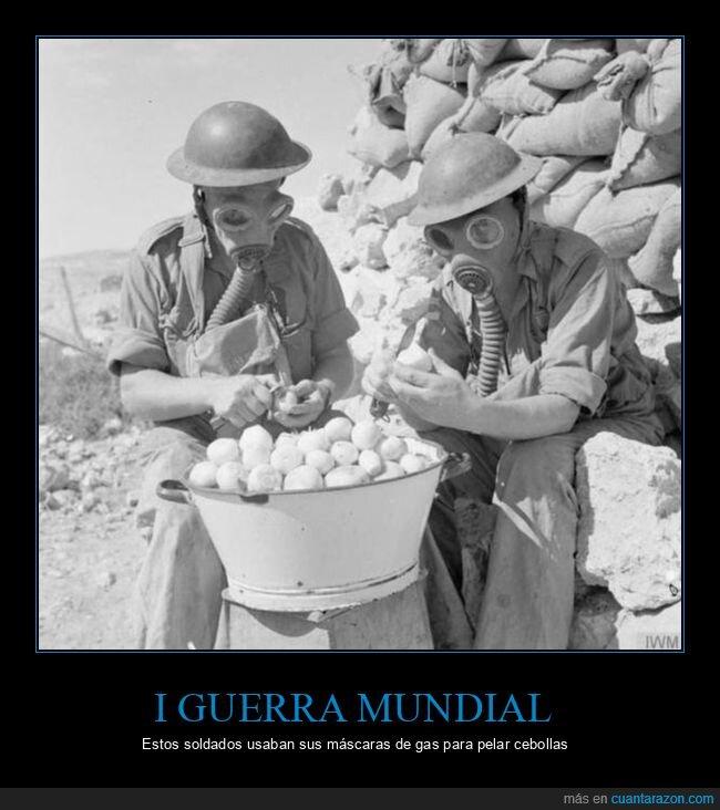 cebollas,i guerra mundial,máscaras de gas,soldados