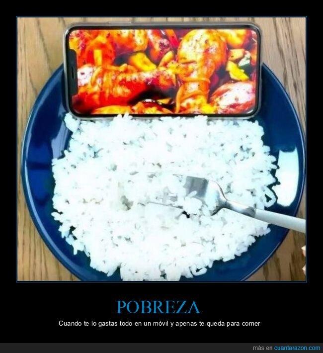 arroz,comiendo,móvil,pobreza