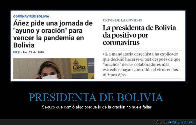bolivia,coronavirus,políticos,presidenta,rezar