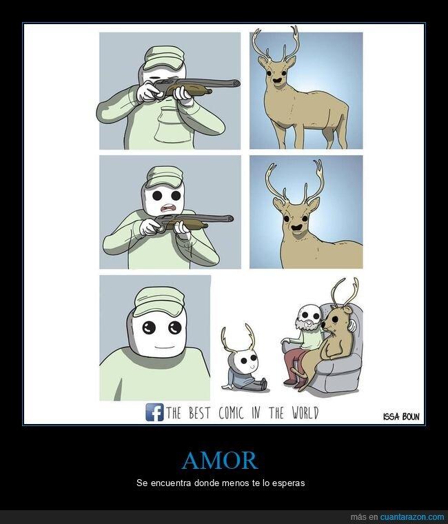 cazador,ciervo,familia