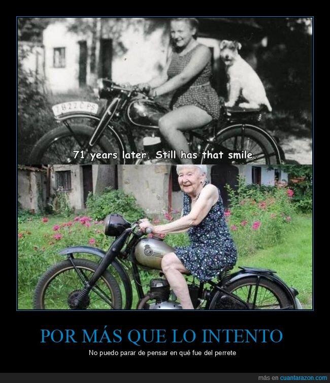 abuela,años,edad,joven,moto,motorista