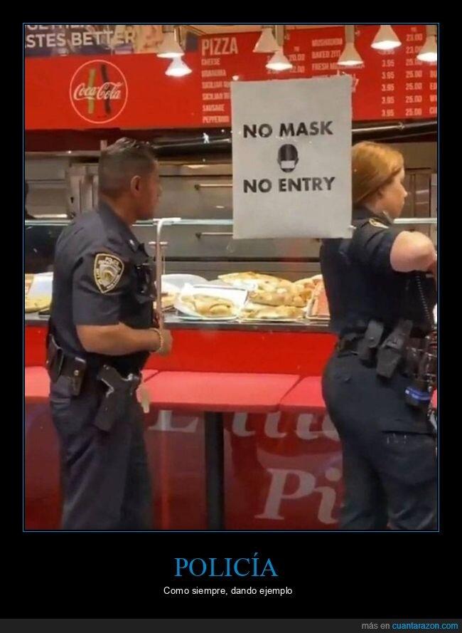 ausencia,mascarilla,policía,restaurante