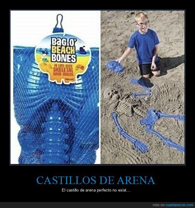 arena,castillo de arena,cubo,esqueleto
