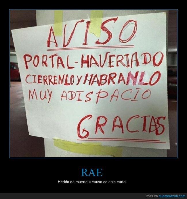 cartel,ortografía