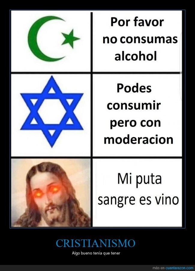 alcohol,cristianismo,islam,judaísmo,religiones