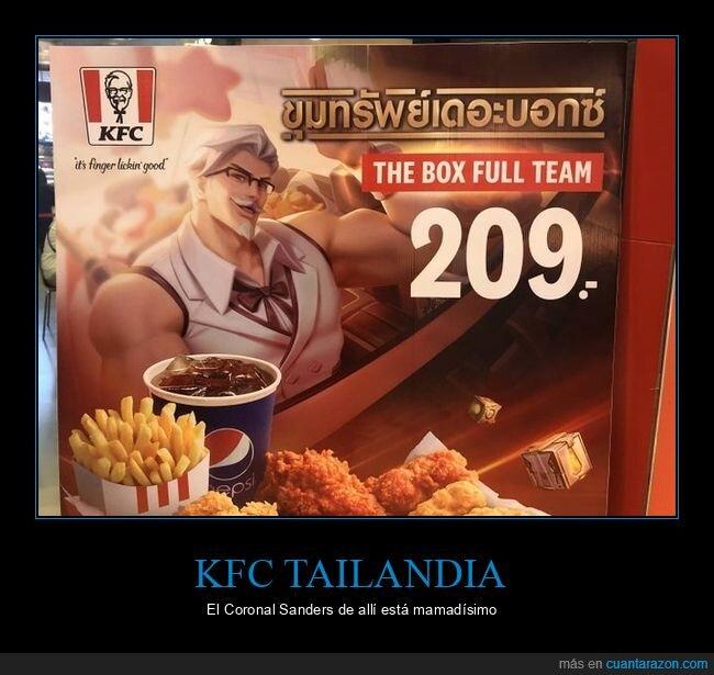 coronel sanders,kfc,musculoso,tailandia