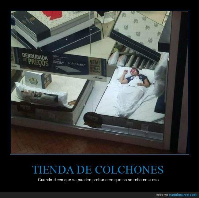 colchón,probando,tienda de colchones,wtf