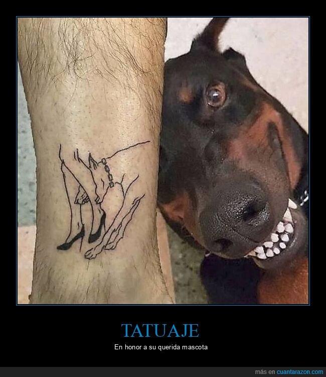 mordiendo,perro,pierna,tatuaje