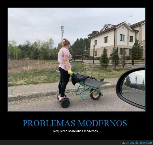 carretilla,hoverboard,problemas modernos,soluciones modernas