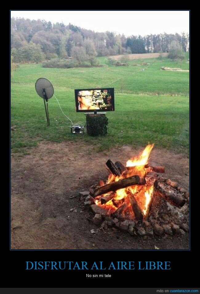 campo,hoguera,televisión,wtf