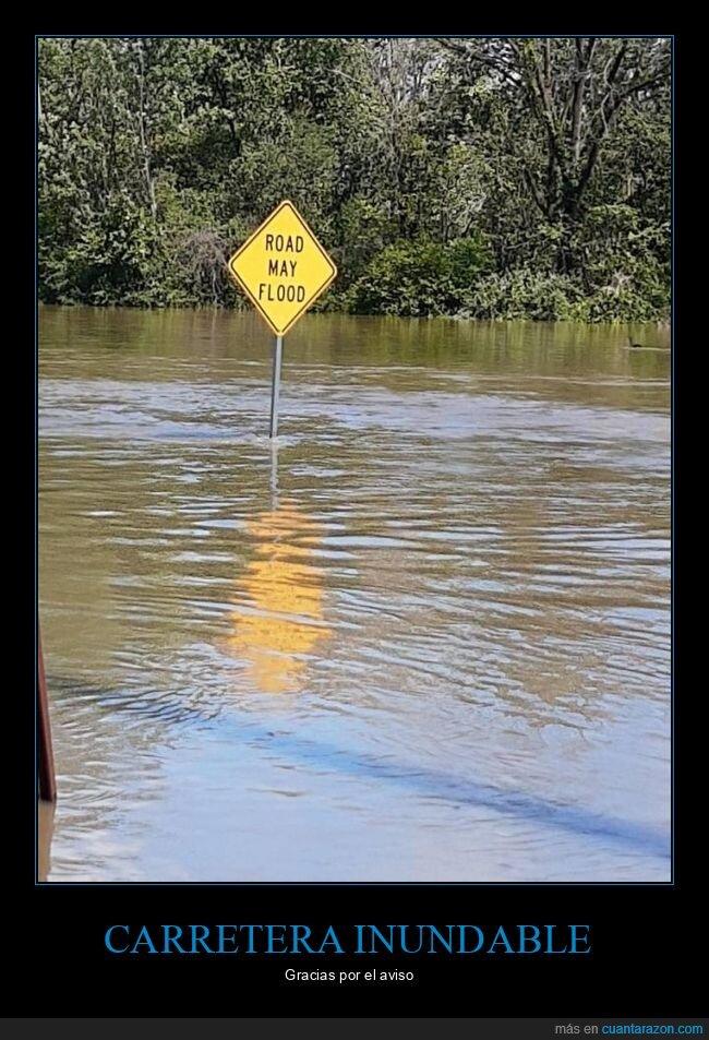 carretera,inundación,señal