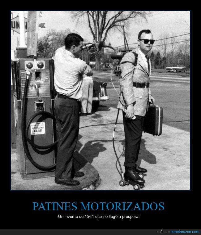 gasolinera,invento,motorizados,patines,repostando