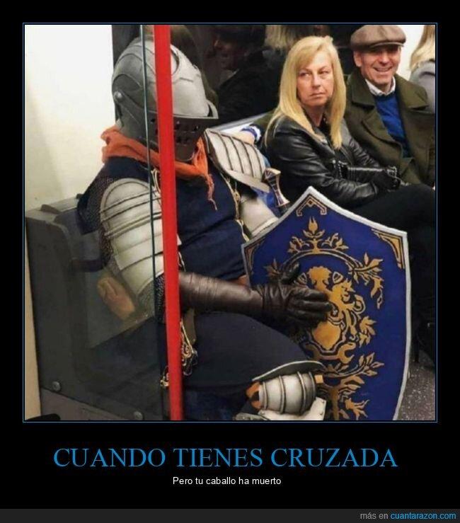 caballero,disfraz,metro