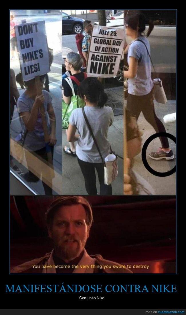 fails,manifestación,nike,zapatillas