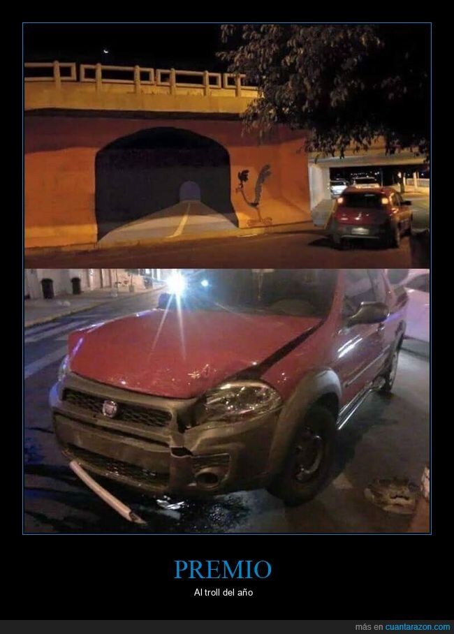 coches,correcaminos,fails,pintado,trolling,túnel