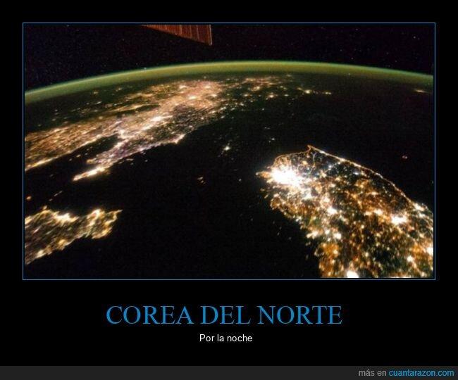 corea del norte,espacio,luces,noche