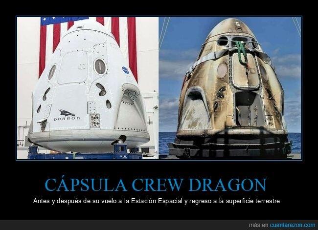 antes,cápsula crew dragon,después,espacio