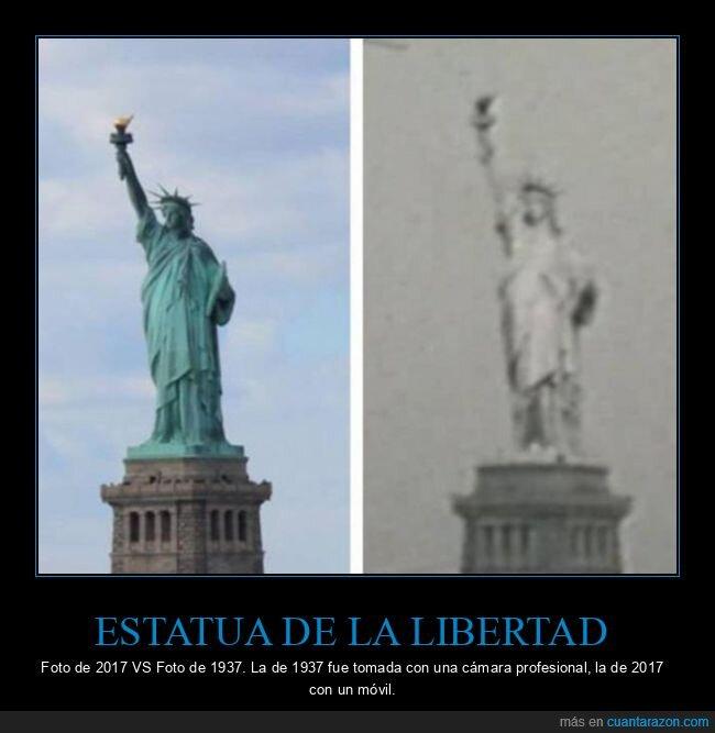 ahora,antes,cámara,estatua de la libertad,fotos,móvil