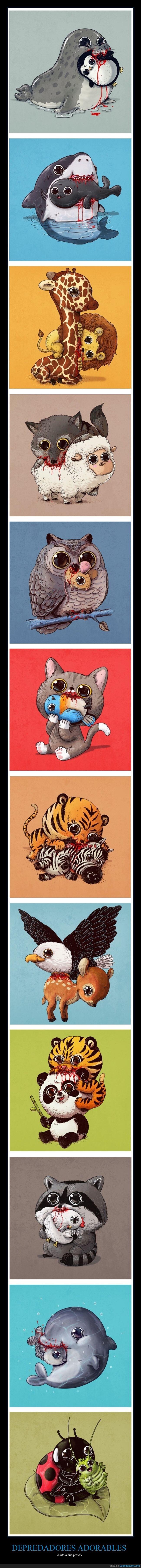 adorables,depredadores,ilustraciones,presas
