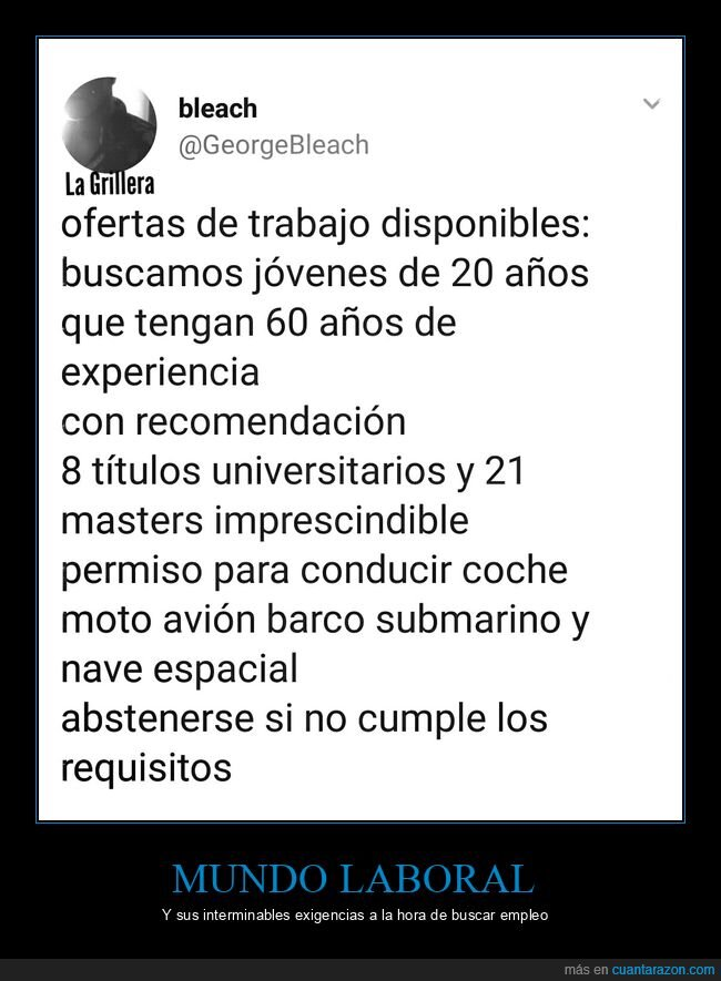 experiencia,requisitos,trabajo