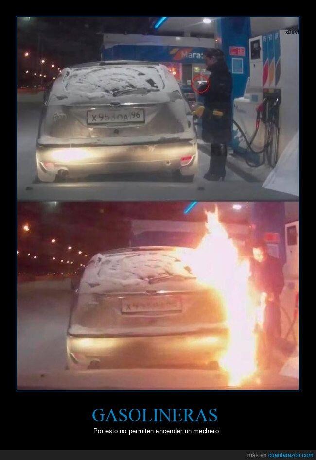 coche,fails,fuego,gasolinera,mechero