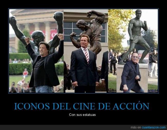 estatuas,schwarzenegger,stallone,van damme