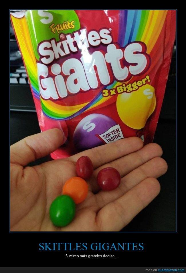 engaño,gigantes,skittles,tamaño