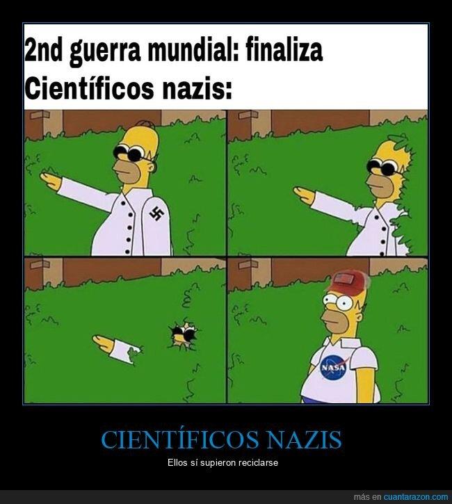 científicos,homer,ii guerra mundial,nasa,nazis,simpsons