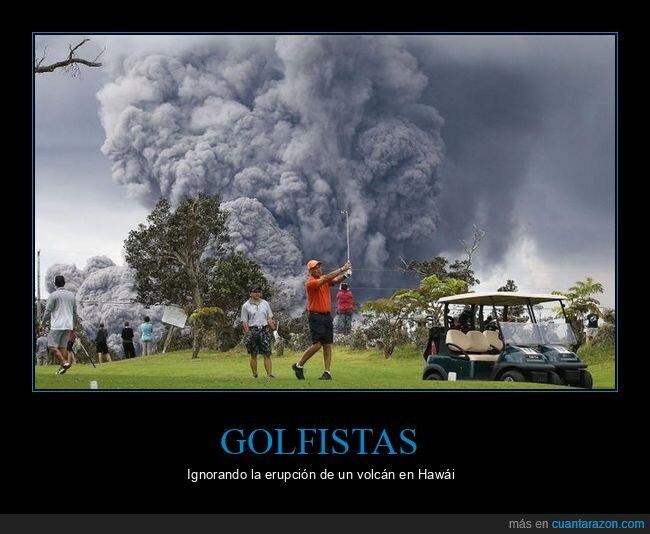 erupción,golfistas,ignorando,volcán