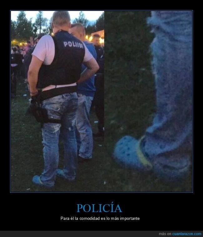 crocs,policía,zapatos
