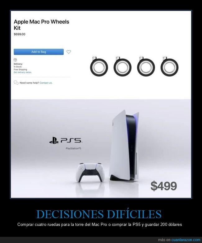 mac pro,precio,ps5,ruedas