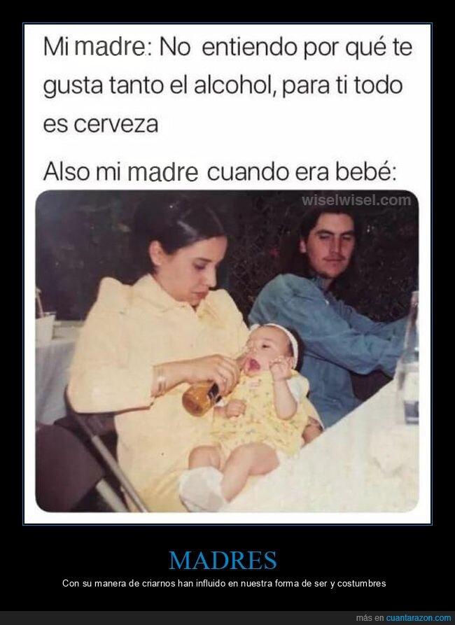 alcohol,bebé,cerveza,madre