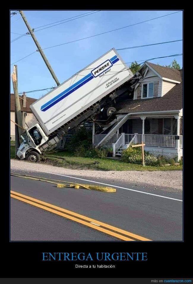 camión,casa,fails,liada