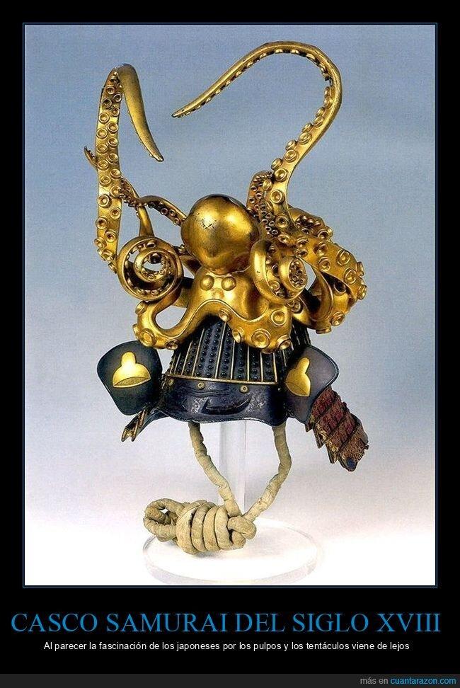 casco,japoneses,pulpo,samurai,siglo xviii
