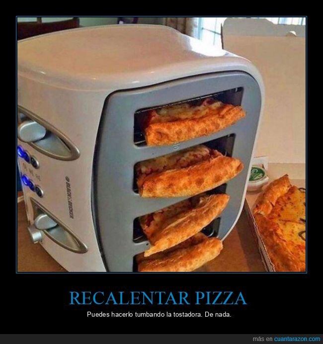 pizza,recalentar,tostadora,tumbar