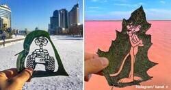 Enlace a Pequeñas grandes obras del artista que recorta hojas de árboles para sus creaciones
