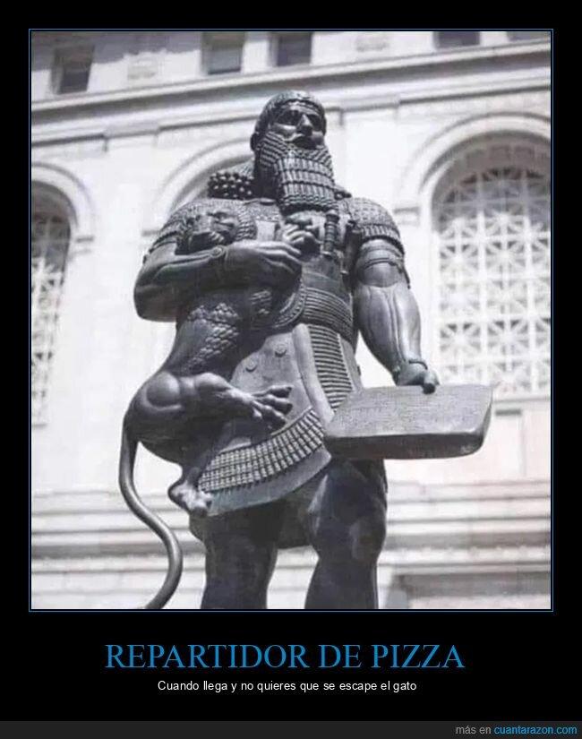 escapar,estatua,gatos,pizza,repartidor