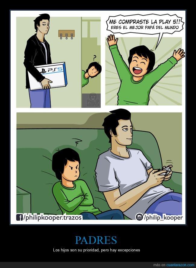 hijo,jugar,padre,playstation 5
