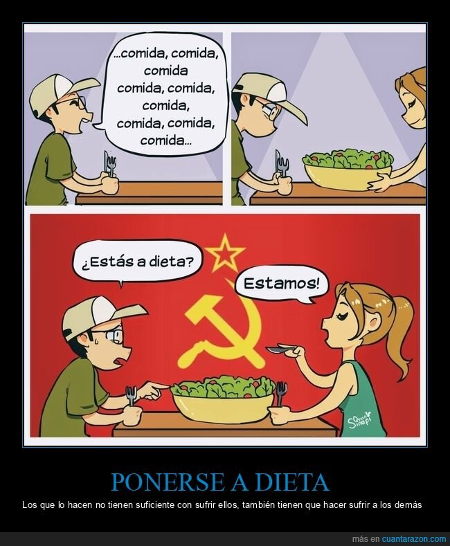 comer,comunismo,dieta,pareja