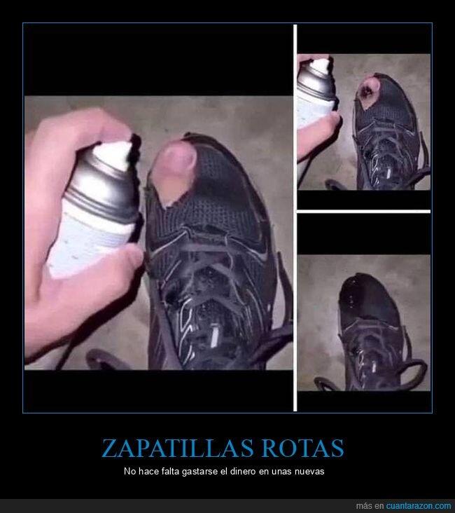 apaño,cutre,rotas,spray,zapatillas